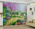 Groothandel 3d Gordijn Mooie Lente Bloemen Vol Olieverf Landschap HD Digital Printing Mooie Gordijnen Natuurlijke Beau