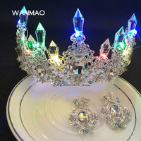 High End Glitter Handmade Headdress Bridal Crowns Tiaras With Color Light Hair Band Hair Accessories For