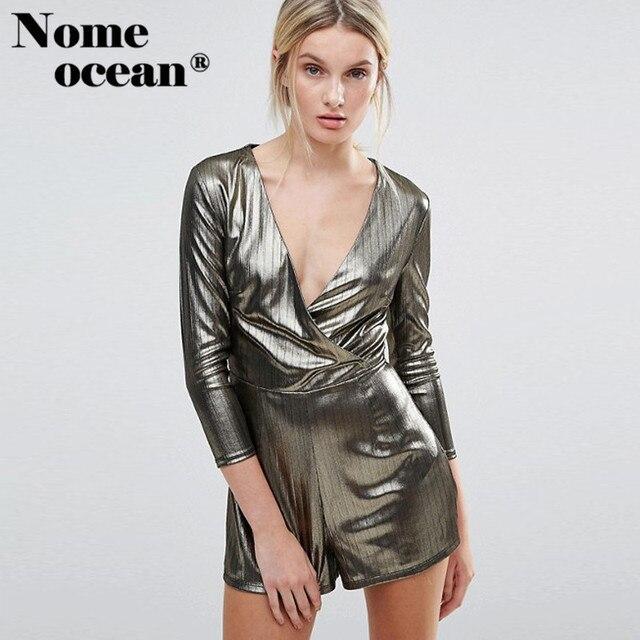 8efae8b542 2018 Summer Shimmer Wrap Playsuit Shining Metallic Design Glamorous Women  Shorts V-neck Short Rompers Women Jumpsuits M17030304