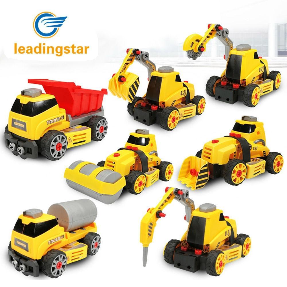 LeadingStar Crane Truck Engineering Transformation Robot Assembling Car Deformation Toy Construction Vehicle Kids Toys ZK35