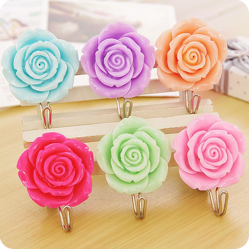 2pcs Roses flowers Self Adhesive sticky hooks decorative wall hook ...