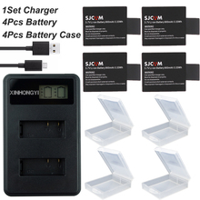 цена на 4x SJCAM Sj4000 Battery +USB LCD Dual Charger for SJCAM SJ4000 SJ5000 SJ6000 SJ8000 EKEN 4K H8 H9 GIT-LB101 Camera accessories