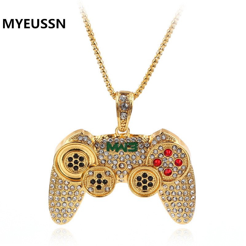 Hip Hop  Iced Out Game Controller Handle Pendant Necklace for Women Men Gold CZ Crystal Rhinestone Jewelry chain Necklaces