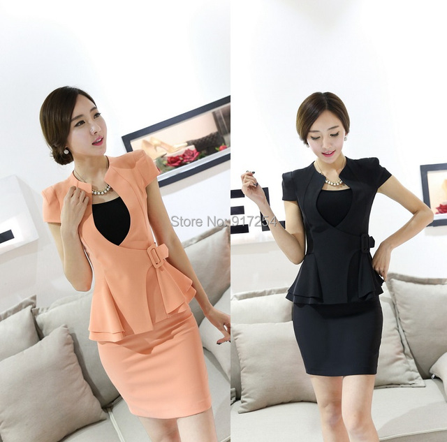 New Elegant Orange Formal 2015 Summer Blazers Jackets And Skirt Short Sleeve Office Ladies Work Wear Uniforms Style Outfits