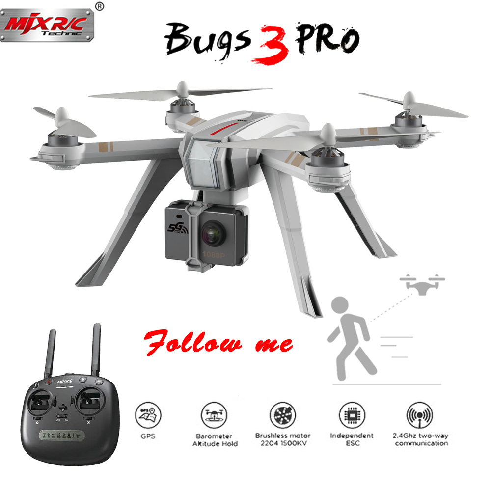 MJX Bugs 3 Pro B3 Pro RC Drone with 720P/1080P Wifi FPV Camera GPS Follow Me Mode Brushless RC Helicopter Quadcopter VS Bugs 5W-in RC Helicopters from Toys & Hobbies