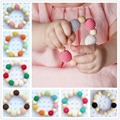 2pcs Natural Wooden Bracelet Baby Beads Toy Organic Baby Baby Shower Gift