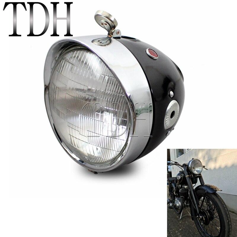 Moto 7 pouces classique rétro phare avant lampe pour Zundapp DB BMW K750 KS750 M72 R12 R75 R51 R61 BW40 Dnepr Ural Sidecar