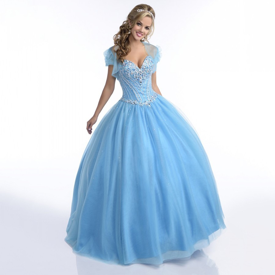 Light Blue Quinceanera Dresses 2016 with Crystals Sparkly Puffy ...