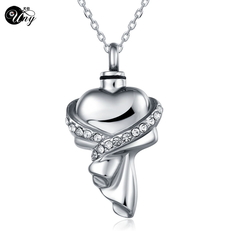 UNY stainless steel memorial pets Ashes Keepsake pendant unique personalized customized Heart with cloth urn cremation pendant