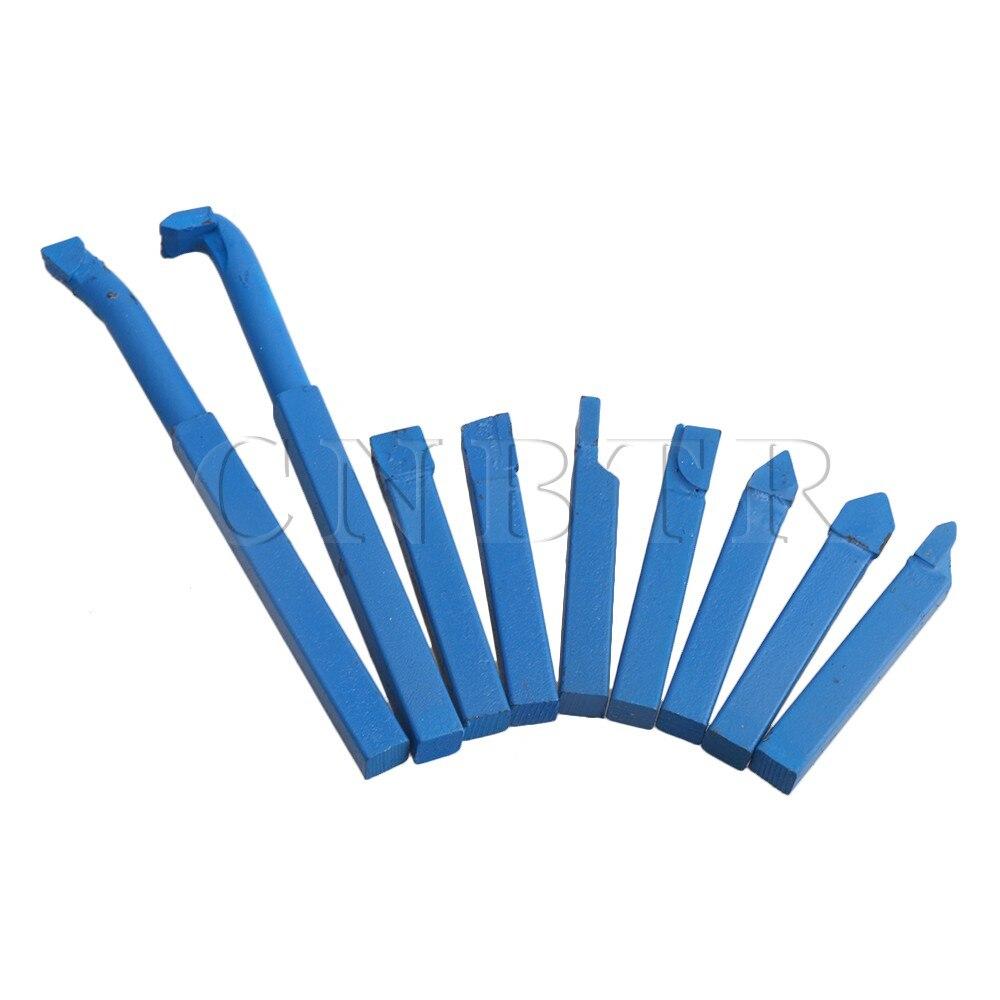 CNBTR 8x8mm Utensili per tornitura in metallo duro con tornio di ferro blu con codolo quadrato 8x8mm con punta per utensili in lega YT15 Confezione da 9