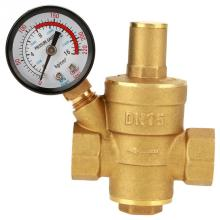 Water Pressure Regulator N15 Brass Reducer Adjustable With Gauge Meter