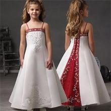 A-Line Flowers Girl Dresses White And Red Satin Embroidery Beaded Junior Bridesmaid Gown Spaghetti Baby Vestidos De Festa HT101