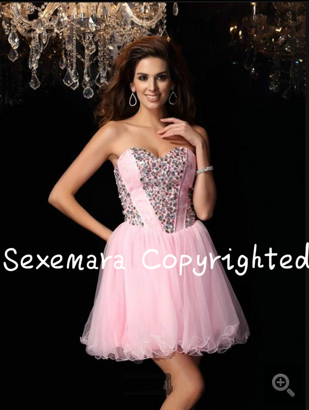 2017 glamorous short pink lace tulle crystals petite girls   cocktail     dress   strapless sweetheart neck informal   cocktail   gowns