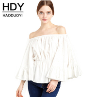 Haoduoyi Womens Cute Slash Nack Casual Nine Quarter Sleeve Blouses Solid Ruffle Slim Off Shoulder Feminina