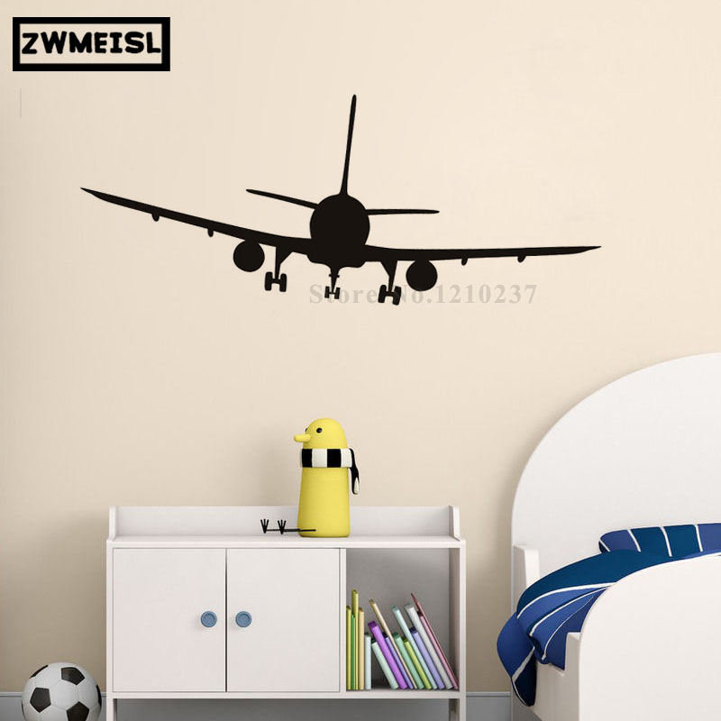 ZWMEISL Vinyl Removable Commercial Airliner Wall Decals Home Decor Airplane Silhouette Wall Stickers For Bedroom Decoration
