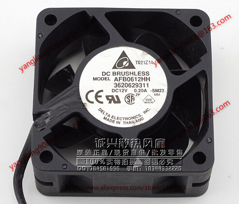 DELTA AFB0612HH, -SM23 DC 12V 0.20A, 60x60x25mm 3-wire Server Square Cooling Fan