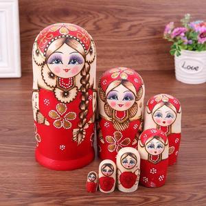 Image 3 - Juego de muñecas rusas con trenza roja de 7 uds, Matryoshka hecha a mano de madera, regalos artesanales
