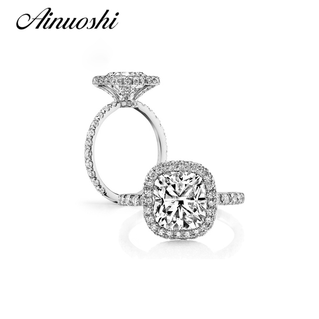 AINUOSHI Luxury 925 Sterling Silver 4 Carats Cushion Cut Halo Rings Wedding Engagement Women Aneis Feminino Anniversary Rings