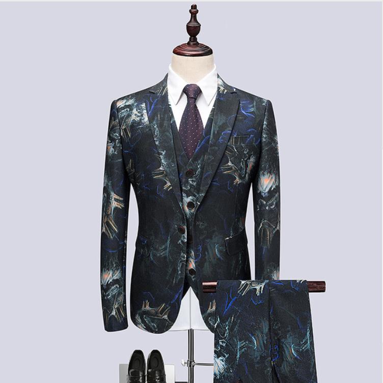 (Jacket+Vest+Pants) 2019 Flower Color Men Suits Fashion Party Dresses Men's Slim Fit Business Men Wedding Suit Full Size M-6XL