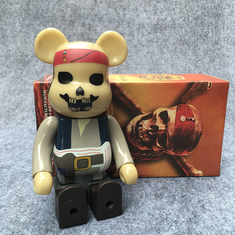 400% Bearbrick Cosplay Pirates of the Caribbean jack Be@rbrick PVC Action Figures Fashion Gifts Model Toys 28CM 11inch high quality oversize 52cm bearbrick be rbrick matt diy pvc action figure toys bearbrick blocks vinyl doll 3 color optional