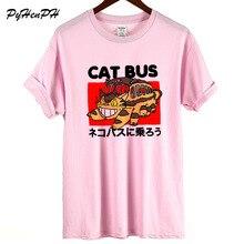 Футболка с рисунком кота Тоторо, автобуса, Женская Повседневная летняя забавная футболка с рисунком кота, женские хлопковые топы размера плюс, футболка с круглым вырезом