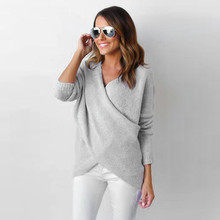 Fashion knitted Female pullover Womens Long V-Neck Cross Long Sleeve Loose Knitted Pullovers Casual Jumper Tops elastic Pullover
