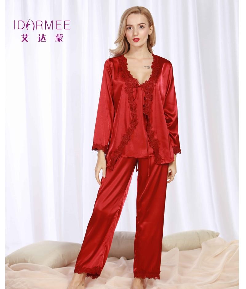 e2b45a89578d Brand New Upscale Silk Pajamas Sets Hot Fashion Pajama Long Sleeve  Lace-trim Satin Pajama Robe Pants