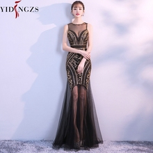 ad3fbe033f2 Robe De Soiree YIDINGZS Black Gold Sequins Beading Long Evening Dresses  Sexy Prom Party Dress 2019