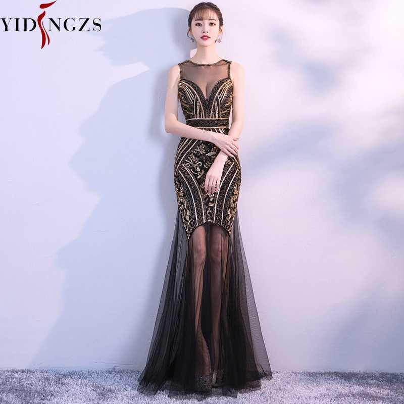 Robe De Soiree YIDINGZS черного и золотого цвета с блестками Бисер длинные cексуальные вечерние платья для выпускного вечера вечерние платье 2019 Новое поступление