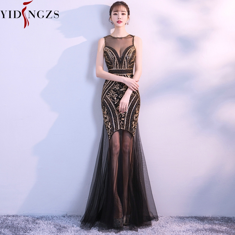 YIDINGZS Black Gold Sequins Beading Long Evening Dresses Sexy Evening Party Dress 2019
