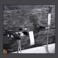 Настенный Ванная комната ванной смеситель кран установить chrome с душевой шланг Медь держатель для душа
