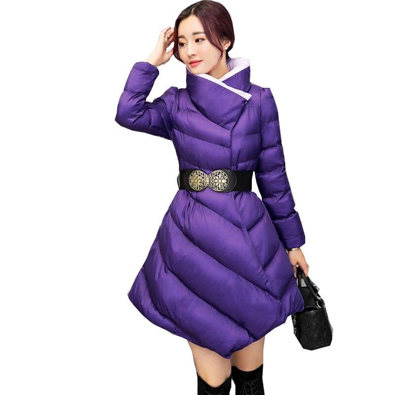 L'ukraine Longue Manteau Parka Femmes Ceinture Femelle Veste Taille Wine Bas Le Vestes red Grande Femme Coton green De Vers Hiver purple 2017 Plume Épais Mode Black 6vrq6A