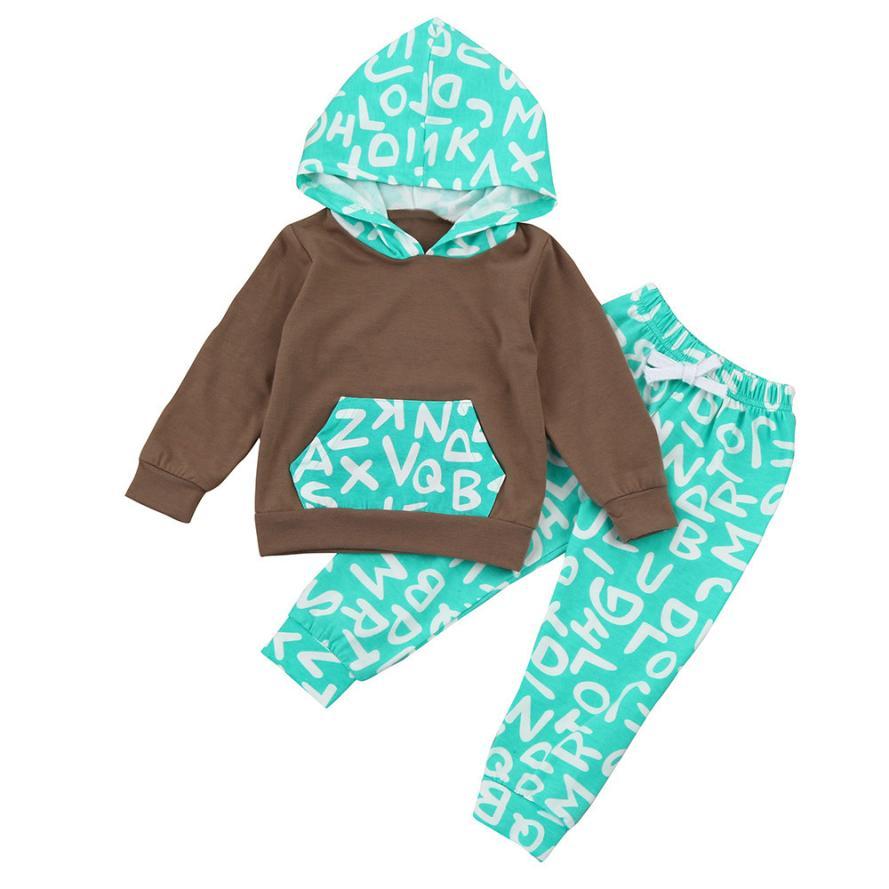 Newborns clothes Set Hooded Baby Boy Clothes bebe Girl Winter Letter T-shirt Tops+Pants Sets L1130