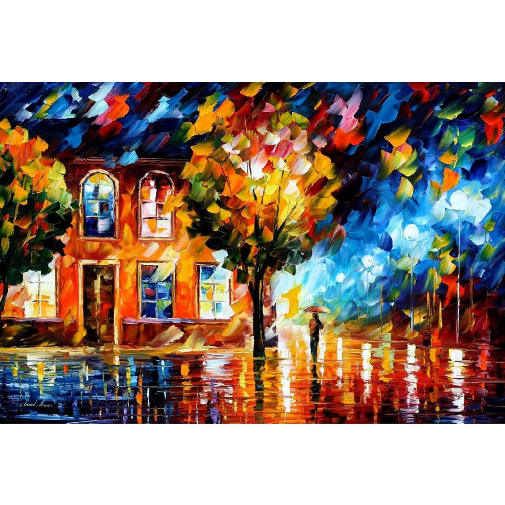 Modern landscape art city of moon light Palette knife oil painting on canvas High quality Handmade home decor