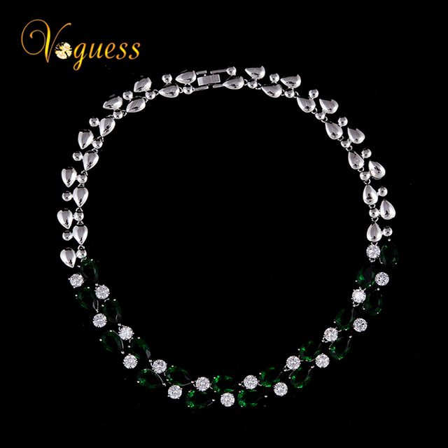 VOGUESS Green Mona Lisa Colar Necklace Luxury Brand Design Femininos Wedding Long Necklace Statement Jewelry