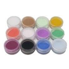 Сделай Сам дизайн ногтей 12 цветов инструменты для ногтей акриловый порошок прозрачный арт для ногтей порошок 3D дизайн ногтей пыльца формирующий порошок