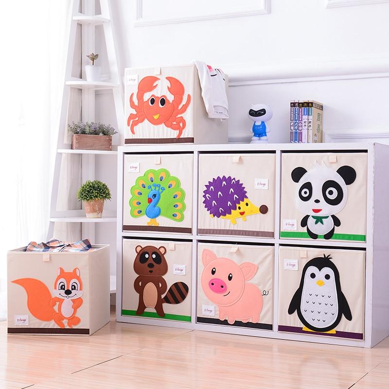 HOT 3D Embroidery Cartoon Animal Folding Storage Box Large