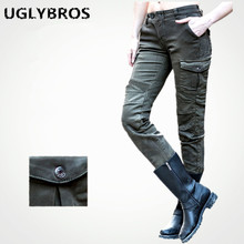 Casual Ladies Army Green Jeans Uglybros Motorpool Ubs06 Jeans Motorcycle Trousers Racing Pants Moto Pants size:25 26 27
