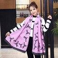 2016 мода двусторонняя кашемир шарф женщины зима теплая птица печатных шарф люксовый бренд длинные шали и шарфы пончо мыс
