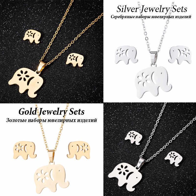 Kobiety zwierząt Hollow Butterfly ze stali nierdzewnej stadniny kolczyki moda naszyjniki kolczyki kobiet słoń naszyjniki zestawy biżuterii