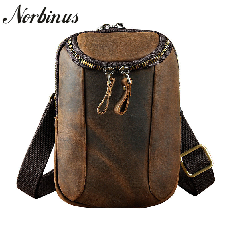 New Fanny Pack PurseCell Phone Case Sport Hip Belt Men Genuine Leather Waist Bag