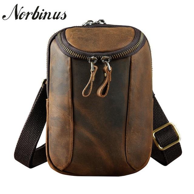 9d9536cf4b23a Norbinus Men s Waist Bag Genuine Leather Fanny Pack Small Phone Camera Pouch  Hook Hip Belt Bag Messenger Shoulder Crossbody Bag