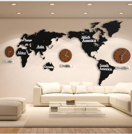 Wooden World Map Home Decor Living Room Wall Clocks Creative 3D Decorative Design  Large Alarm Watch Sticker