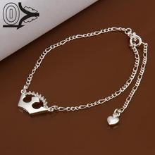 Lose Money!!Wholesale Silver Plated Anklets,Fashion Silver Foot Jewelry,Imperial Crown With Stone Anklets Bracelet For Wedding