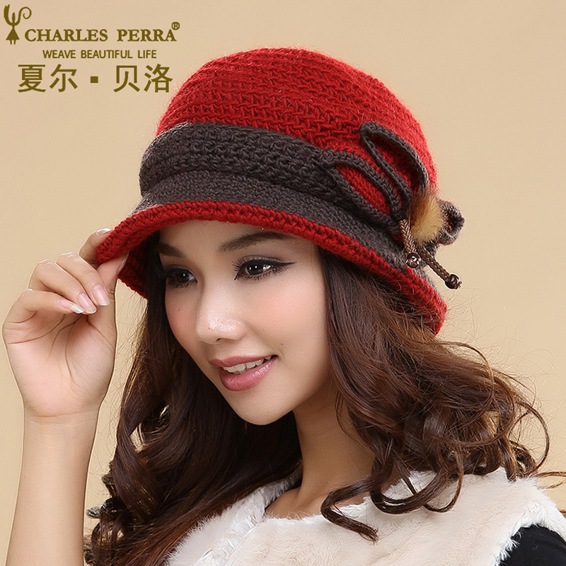 Charles Perra Women Hats Winter Thicken Double Layer Thermal Knitted Hat Elegant Lady Casual Wool Knitting Cap Beanies 3244 the new children s cubs hat qiu dong with cartoon animals knitting wool cap and pile