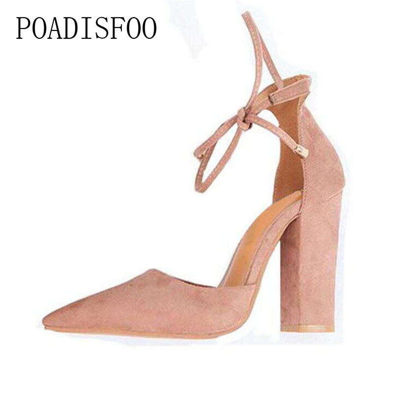 POADISFOO Spring Summer Autumn  High-heeled New Fashion Women Pumps Sexy Shoes Women Shoes Thick Heel 10.5CM .KL-113 siketu 2017 free shipping spring and autumn women shoes fashion sex high heels shoes red wedding shoes pumps g107