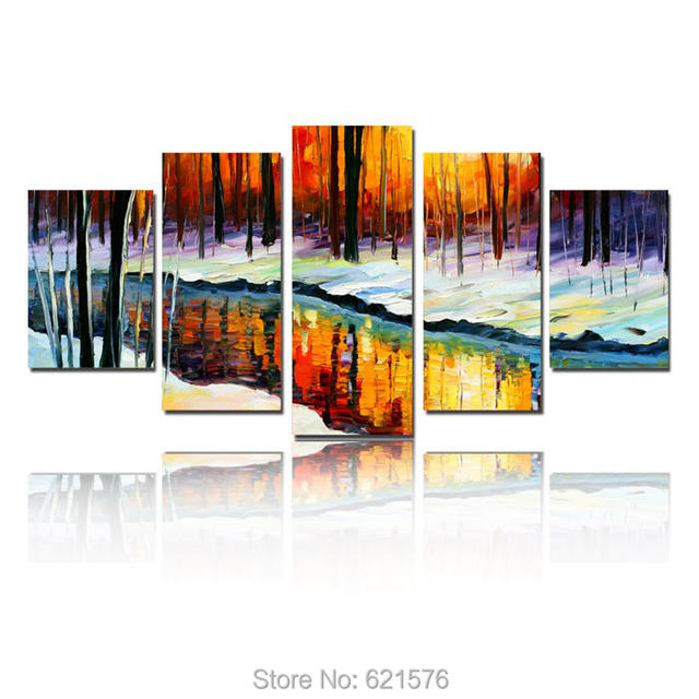 Atfart Living Room Hall Wall Art Handmade Landscape Oil: Hand Painted Big Size Wall Art Home Decor Winter Forest