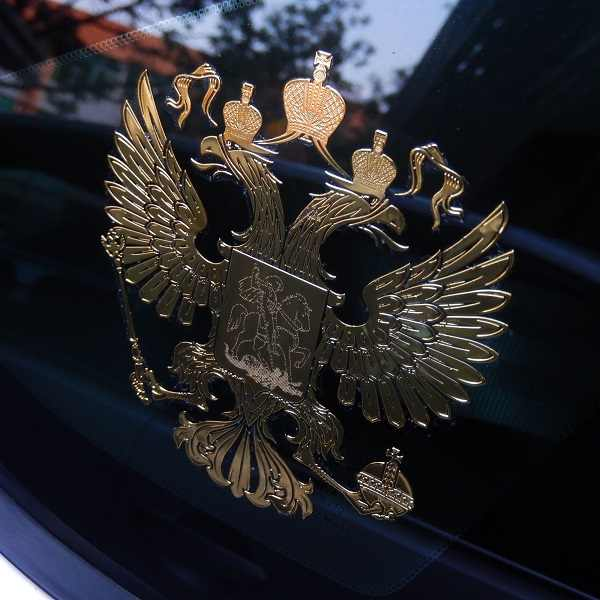 97x97mm wapen van Rusland auto body metalen sticker Russische Eagle Decal Decoratie stickers