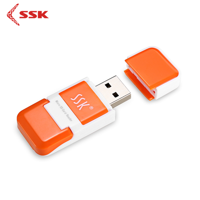 SSK SCRS022 USB 2.0 Micro SD Card Reader Portable Mini High Speed T-FLASH/Micro SD Computer Laptop Card Reader Orange