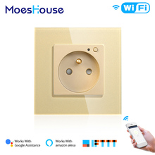 FR WiFi Smart Wall 16A Socket Outlet Glass Panel French Life/Tuya Remote Control,Works with Amazon Echo Alexa Google Home